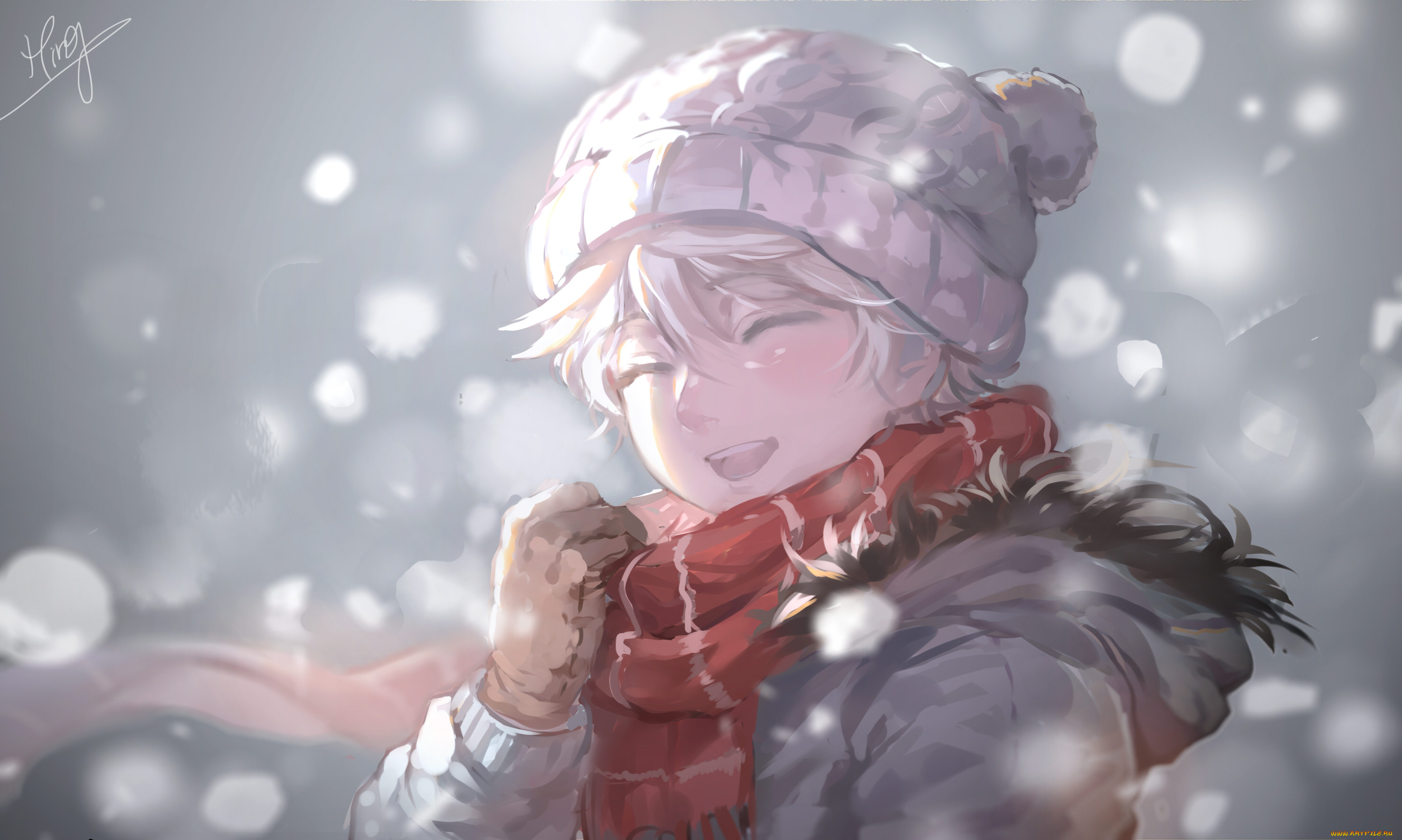 Картинки аниме зима парень